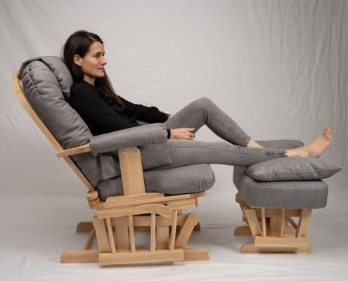 4Relaxer Sessel, Glider Sessel ,Schwingsessel, Schaukelsessel mit Hocker, Relax Sessel Holz, Fernsehsessel TV, Stillsessel, Schwingstuhl, Schaukelstuhl mit Hocker, Stillstuhl,